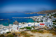 Mykonos Town from Above in Greece (` Toshio ') Tags: city windmill greek harbor town europe european greece europeanunion mykonos toshio greekisland mykonostown xe2 fujixe2