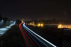Two Trains Passing in the Night (Alexander Jones - Documentary Photography) Tags: documentary night time photography long exposure star burst starburst light trails neath railway station line train trains passing south west wales midnight nikon d5200 briton ferry