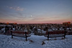 Two Bench Moon setting Sunrise (John Andersen (JPAndersen images)) Tags: 2017 alpenglow bench calgary city cold january moon skyline snow sunrise towers winter