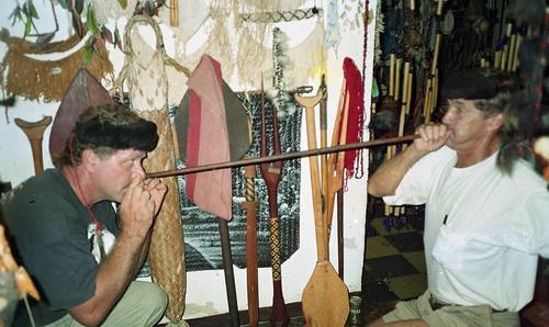 Willie asnd Bill clown around in a souviner shop