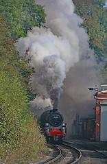 Dramatic Exit. (Adrian Walker.) Tags: elements nymr canon80d tamron koodfilters grosmont steam smoke locomotive train railway heritage 76804