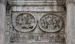 Boar hunt (left tondo), sacrifice to Apollo (right tondo), frieze with oration at the Rostrum (Forum), Arch of Constantine (north) close