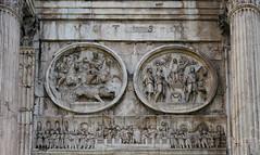 Boar hunt (left tondo), sacrifice to Apollo (right tondo), frieze with oration at the Rostrum (Forum), Arch of Constantine (north) close