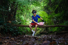 Taichi (bdrc) Tags: asdgraphy yagami taichi digimon plushie monster bukit gasing forest jungle green strobe godox sony a6000 sigma 30mm prime kaori lala cosplay girl portrait crossplay boy character plants trees river stream trunk