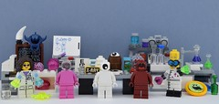 LEGO Monochrome organes (Alex THELEGOFAN) Tags: lego legography minifigures minifigure minifig minifigs minifigurine minifigurines scientist science lab laboratory brain organes eye mouth white pink dark red tab mathematic monster man woman xray the batman movie