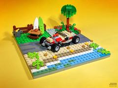 Beach Hot Rod: 4-Wide Rebuild (IAmJwm) Tags: lego bricks moc afol hot rod custom beach car surf board palm tree water micro scale 4 wide scene road