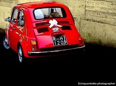 il cinquino (Ecinquantotto ( + 1.067.000 di grazie a Tutti )) Tags: fiat 500 abstract pop colori colors rome roma reflex red d3000 targa italia italy nikon nikond3000 ombre rosso rossa campidoglio auto matrimonio just married justmarried