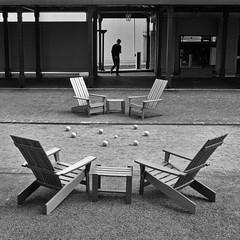 join in the game (jimATL (weltreisender2000)) Tags: bocce ball court sport four adirondack chairs human man geometry bw blackandwhite atlanta