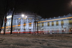 Thespian abilities (No_Mosquito) Tags: wien vienna burgtheater theater light trails snow winter dark urban city lights canon powershot g7x mark ii nd8 cold europe austria street tramway long exposure neutral density filter historic centre