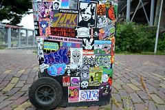trashbin combo (wojofoto) Tags: streetart amsterdam stickerart stickers hof stickercombo wojo flevopark amsterdamsebrug wolfgangjosten wojofoto