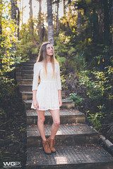 Hannah (Winston Gee) Tags: lighting light sunset portrait girl fashion forest nikon glow dress boots outdoor dreamy strairs wgp d700