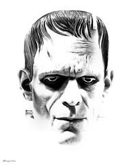 the monster... (Stu Bo) Tags: blackandwhite white black art face movie rebel eyes artistic ace icon headshot frankenstein moviestar onwhite hdr topaz nowife themonster nofire artisticexpression tonemapped blackwhitephotos sbimageworks novillagers