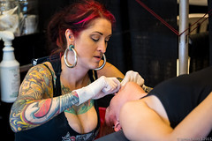 20150808 5DIII S FL Tattoo Expo 186 (James Scott S) Tags: street red portrait people art tattoo ink canon us unitedstates expo florida head candid south s piercing redhead fl cleavage 70200 ef coralsprings inked 5d3 5diii