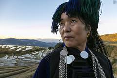 Lady in Yuanyang (lycheng99) Tags: yuanyang hani woman outfit clothing traditonal riceterraces rice terrace terracefarming sunset