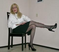 A New Year with a new blouse. (sabine57) Tags: crossdressing transvestism crossdress crossdresser cd tgirl tranny transgender transvestite tv travestie drag pumps highheels pantyhose tights patternedpantyhose patternedtights skirt blouse