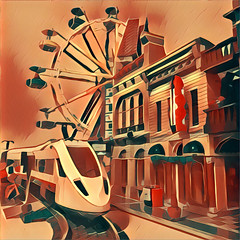 """lego City (train and Modular) with effect app """"prisma"""" (Moro972) Tags: train color lego square 2016 10232 prisma 10246 building city cinema 60051 effect detectiveoffice rail iphone6 palace modular filters app ferrywheels wheels rosso orange red arancione pool 10247"""