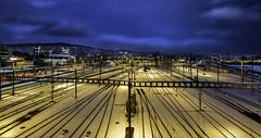 hardlights (ver.sus) Tags: night nacht city citylights rails trains stadt gleise himmel sterne zurich zürich swiss switzerland hardbrücke lichter fujifilm xpro1 wideangle wide weitwinkel