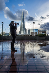 Feeling Reflective. (Andy Bracey -) Tags: andybracey bracey andybraceyphotography thecityoflondon london england greatbritain bankside riversidewalk riverside theshard londonbridge puddles rainy abreakintherain raining camera photographer landscape nikon nikond3s brother clouds fluffyclouds tourist landmark explore explored