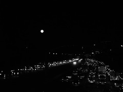 counting stars (vfrgk) Tags: traffic highway cars lightson abstract trafficjam nightphotography nightshots nightview urbanlife citylife black bw blackandwhite monochrome moon perspective fullmoon flow
