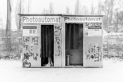 Photoautomat (Aaron James Rodgers) Tags: berlin mauerpark winter travel photobooth nikond750 photoautomat blackandwhite prenzlauerberg snow