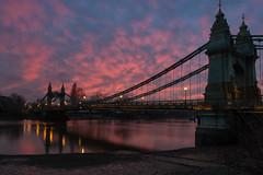 Crimson Skies (Andrew G Robertson) Tags: hammersmith thames river sunset sun pink london bridge fulham