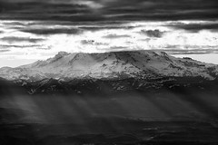 Sideways Rays (CDeahr23) Tags: mtrainier cascades mountains sunrise clouds blackandwhite