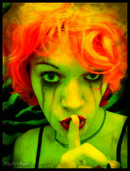 Shhhhhh.... (stOOpidgErL) Tags: portrait selfportrait color me girl face female digital manipulated self wow myself weird crazy colorful unique secret vivid manipulation identity wig mascara orangehair bizarre secrets identitycrisis shocking digitalmanipulation top40 myface mpd greenskin stoopidgerl mytop40 multiplepersonalitydisorderproject mulitplepersonalitydisorder