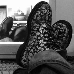 i do love these boots. (Miss Plum) Tags: blackandwhite keyboard boots 2006 monitor smalldogs february docs docmartens putyourfeetup ourplace putyerdocsup inspiredbysmalldogs