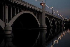 Tempe Bridge at Night, Arizona (Thad Roan - Bridgepix) Tags: travel bridge arizona reflection phoenix night river lights photo arch photos bridges saltriver span tempe bridging bridgepixing 200603 bridgepix bridgeblog