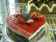 heart shaped cake ( Athens) (JAMES HALLROBINSON) Tags: food cakes dark cuisine sweet chocolate athens greece edible culinary heartshaped strawberrys