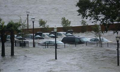 Submerged cars in New Orleans during the hurricane