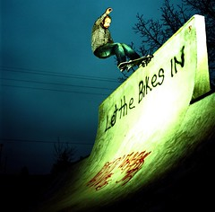 Grumpy VS Vert Wall 1 (candersonclick) Tags: film crossprocessed skateboarding michigan hasselblad xp grumpy slaveflash slidetoprint kodak100vs lansingskatepark