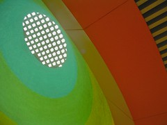 Skylight (foxp2) Tags: california city blue light red sky sun sunlight color building green colors lines yellow architecture subway la losangeles bright angeles geometry redspace valley southerncalifornia sfv sanfernandovalley northhollywood