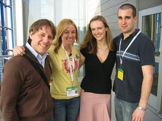 Andrew (Rocketboom), me, Amanda (Rocketboom), Matt (G4TechTV)