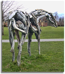 Horse sculpture from the rear (sorry) (walla2chick) Tags: sculpture horse usa washington driftwood wa wallawalla whitmancollege deborahbutterfield wst2007poi
