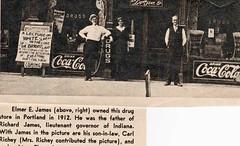 James Pharmacy (beccafromportland) Tags: james pharmacy drugstore unclecarl auntflora grandfather elmer cocacola old vintage photo ancestor florajames