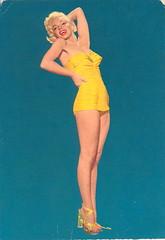 Vintage Monroe Postcard (ART NAHPRO) Tags: vintage glamour marilynmonroe postcard nahpro monroe heels pinup swimwear maillot yellowswimsuit