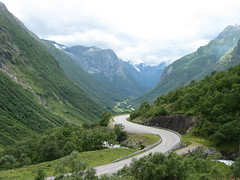A long winding road (202) Tags: road bridge mountains green fall norway clouds river winding somewhere בקעתאונו