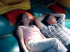 Sarah and her dad take a break from the action (drewsaunders) Tags: birthday family summer wisconsin burlington surpriseparty recoveredphotos grandmafait faits