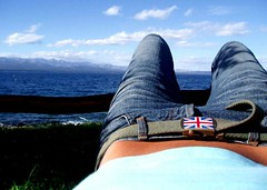 Relaxing... (radioher) Tags: ocean original sea summer woman argentina girl beautiful relax hotel march belt interestingness holidays unitedkingdom britain flag interestingness1 creative relaxing flags hills explore jeans strap british unionjack unionflag buckle josefina bariloche flatbelly bonboneta