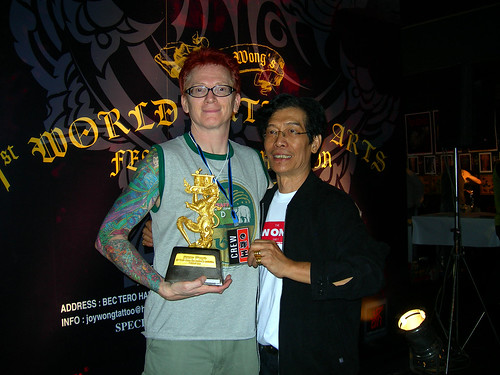 "Jimmy Wong congratulates me after I won the ""Best Japanese-style"" tattoo"