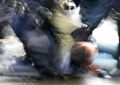 March 28, 2006 - 17:14: Arrest (Hughes Lglise-Bataille) Tags: motion blur paris france color riot protest photojournalism olympus 2006 f10 demonstration arrest cpe e500 topv1000 v1200