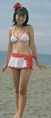 Marie dainty beach pose (shiroibasketshoes hopper) Tags: cute beach japan tokyo pretty tummy idol singer swimwear mariesuzuki