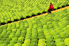 disrupting the pattern (SophieMuc) Tags: red green munich topf50 child seats topf100 olympiastadion
