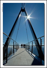 stairway to the stars (anbri22) Tags: bridge blue people 15fav sun mountain backlight contraluz landscape schweiz switzerland suisse suspension flag pb stairway sole svizzera montagna paesaggio controluce bandiera anbri cardada waytoheaven