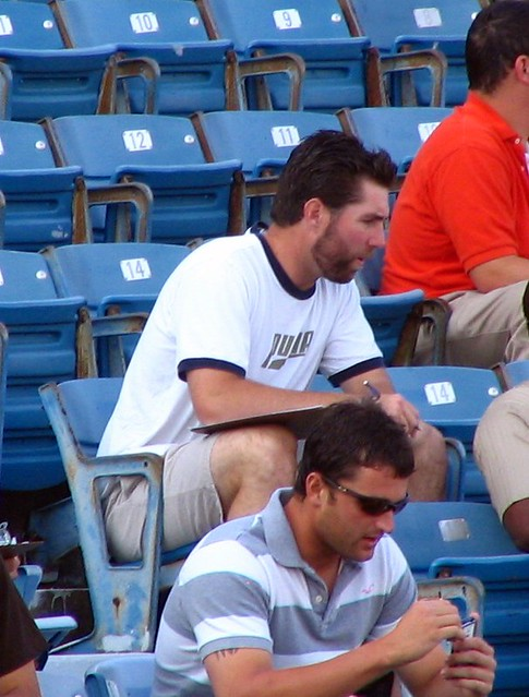 RA Dickey charting pitches on his off day
