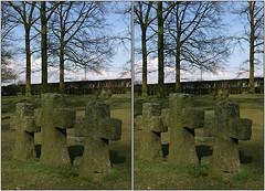 Balliolman_WW1 German Military Cemetery, Langemarck_X (Balliolman) Tags: cemetery 3d belgium wwi stereo crucifix westernfront ww1 firstworldwar crossed germanarmy 19141918 langemarck deutschersoldatenfriedhof