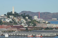 Coit and the Golden Gate (cwgoodroe) Tags: sf sanfrancisco california bridge building tower water ferry boats golden boat gate san francisco embarcadero bayarea ferrybuilding coit sfchronicle 96hrs sfchronicle96hours sfchronicle96hrs