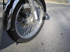 Front Wheel (CatsFive) Tags: canada calgary 1974 ride 2006 alberta motorcycle s400 kawasaki 2stroke 400cc catsfive