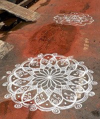 Geometry on the Pavement (premasagar) Tags: india geometric pattern pavement tamilnadu pondicherry kolam